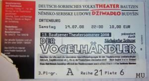 13. Bautzner Theatersommer Eintrtittskarte